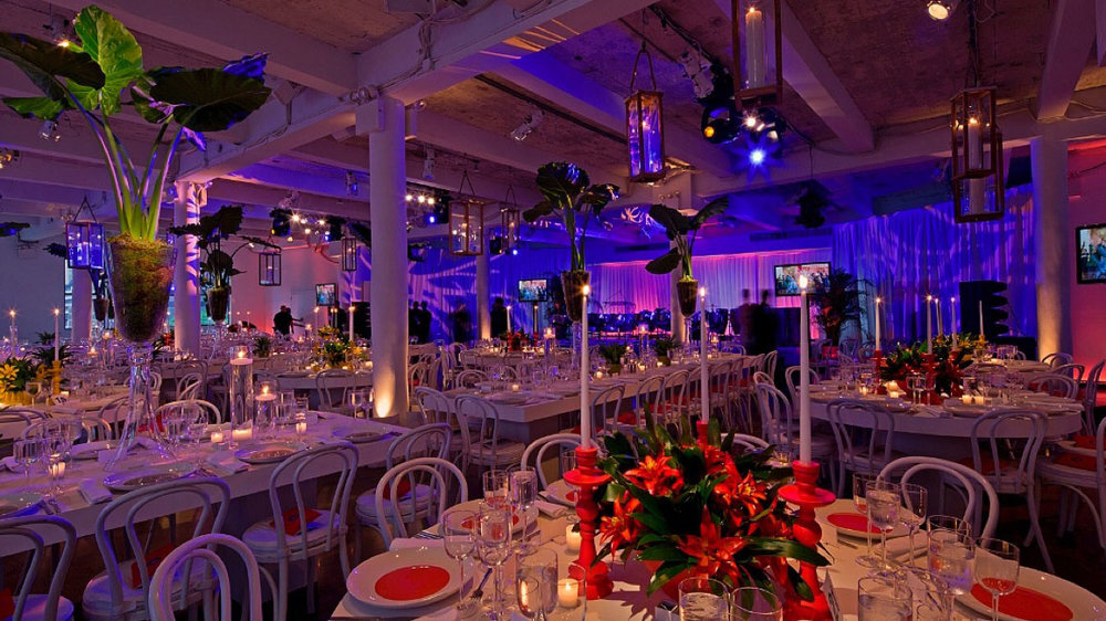 New York Rooftop wedding venue with views of Hudson River views, the Empire State building, the New York Times building, and the New Yorker Hotel