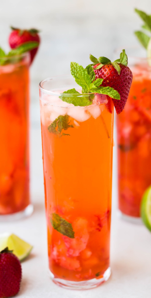 Strawberry Mint Caipirinha cocktail
